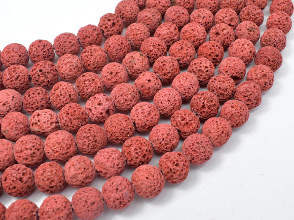 Red Lava Beads, 10mm Round Beads-BeadBeyond