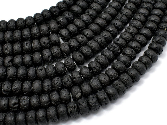 Black Lava Beads, 5x8mm Rondelle Beads-BeadBeyond