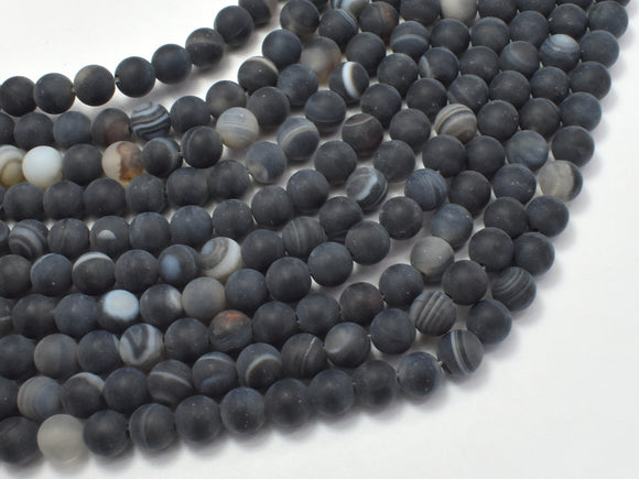Matte Banded Agate Beads, 6mm Round Beads
