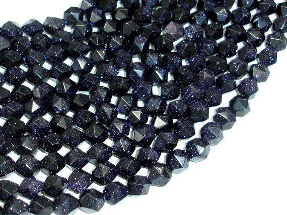 Blue Goldstone Beads, 8mm (7.5mm) Star Cut Faceted Round-BeadBeyond