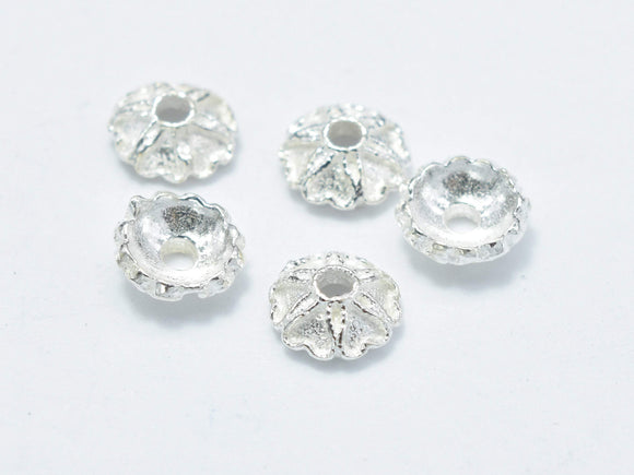 20pcs 5mm 925 Sterling Silver Bead Caps, 5x2mm Flower Bead Caps