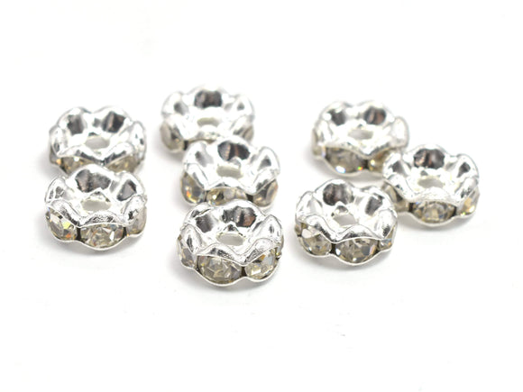 Rhinestone, 8mm, Finding Spacer Round, Clear, Silver plated Brass, 30 pieces