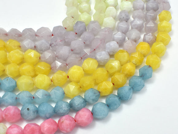 Jade-Multi color, 8mm Faceted Star Cut Round-BeadBeyond