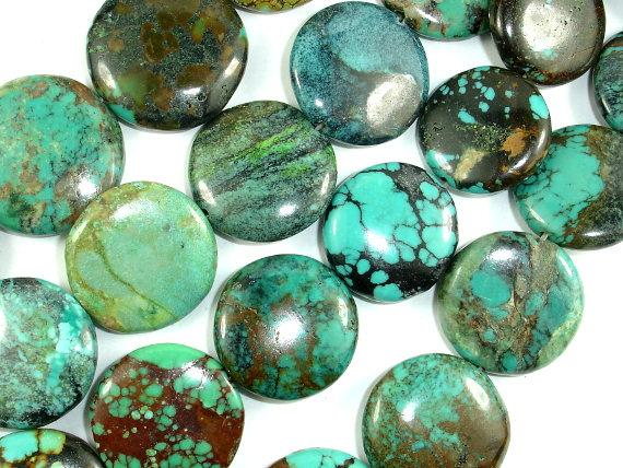 Genuine Turquoise, Approx 18-22mm Coin Beads, 8 Inch-BeadBeyond