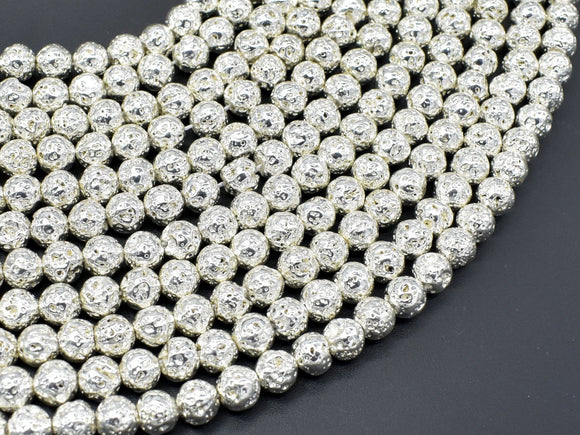Lava-Silver Plated, 6mm (6.7mm) Round Beads-BeadBeyond