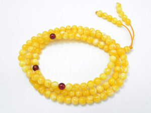 Amber Resin-Yellow, 6mm Round Beads, 23 Inch, Approx 108 beads