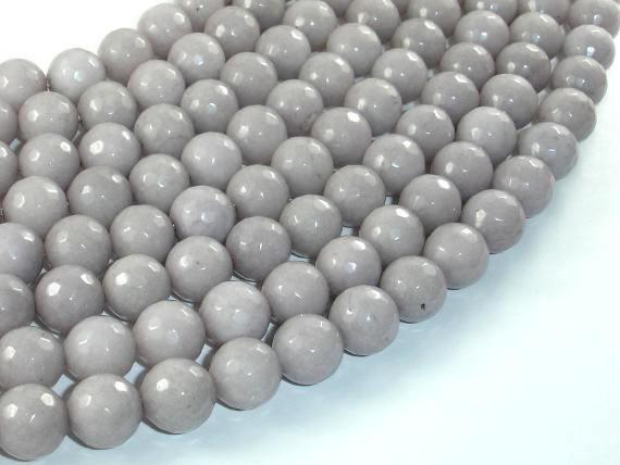 Jade Beads, Light Gray, 10mm(10.3mm) Faceted Round-BeadBeyond