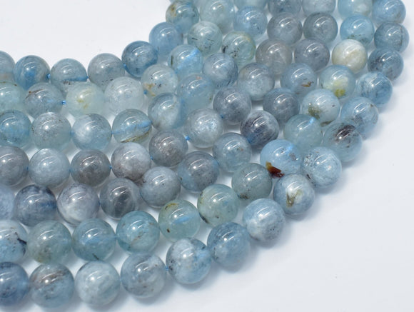 Genuine Aquamarine Beads, 10mm Round Beads