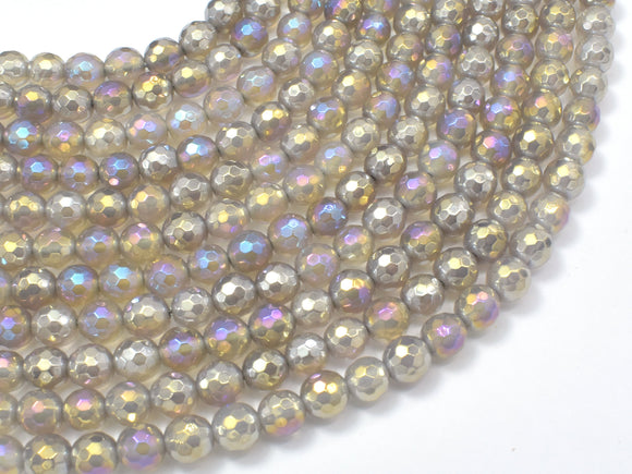 Mystic Coated Gray Agate, 6mm Faceted Round-BeadBeyond
