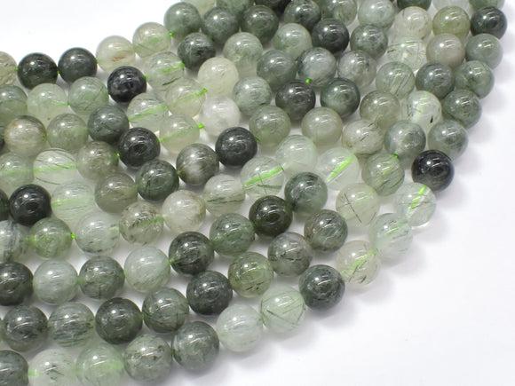 Green Rutilated Quartz Beads, 8mm Round Beads