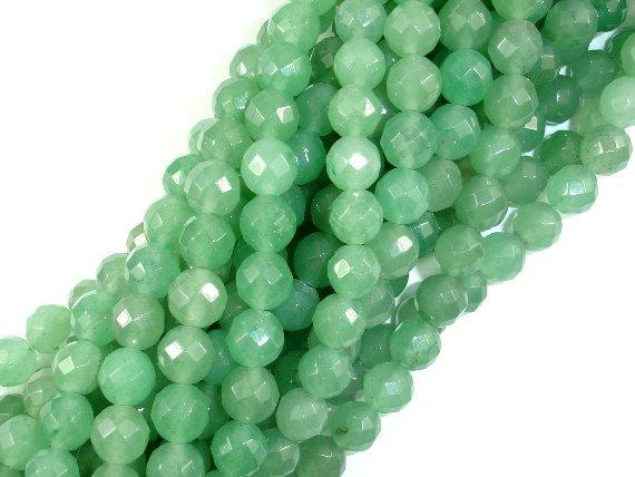 Green Aventurine Beads, 8mm Faceted Round Beads