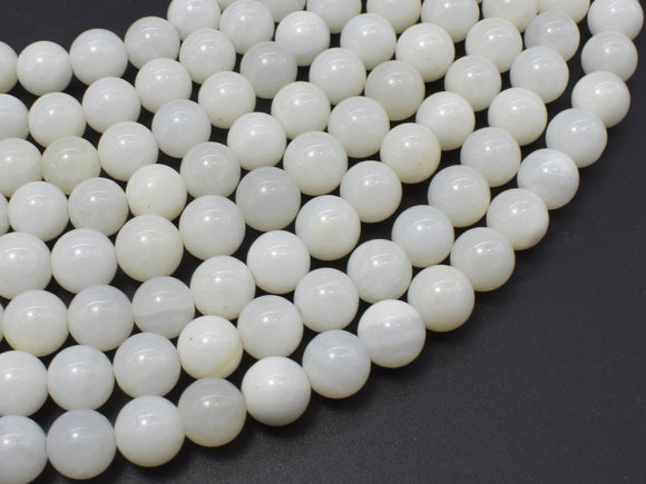 White Mother of Pearl Beads, MOP, 8mm (8.3mm) Round-BeadBeyond