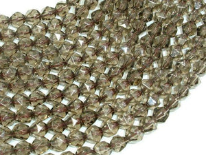Smoky Quartz Beads, 8mm Star Cut Faceted Round Beads