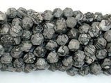 Gray Picture Jasper Beads, 8mm Star Cut Faceted Round-BeadBeyond