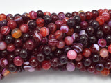Banded Agate Beads, Red & White, 6mm Round-BeadBeyond