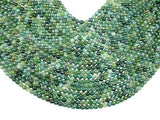 Moss Agate Beads, 6mm Faceted Round Beads, 15 Inch