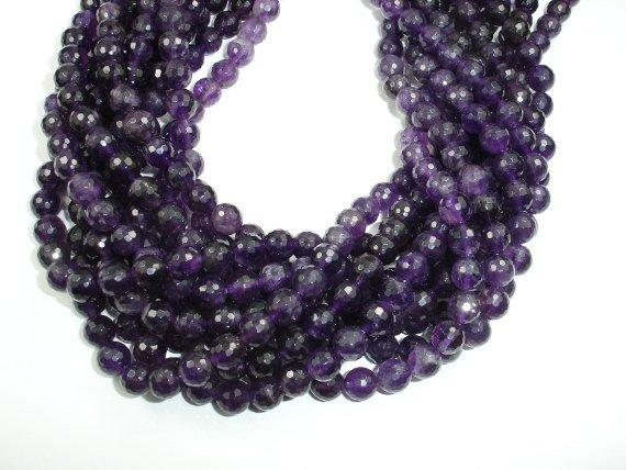 Amethyst Beads, 8mm Faceted Round Beads