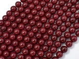 Jade Beads-Red, 6mm (6.4mm) Round Beads-BeadBeyond