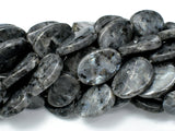 Black Labradorite Beads, Larvikite, 18x25 Twisted Oval Beads-BeadBeyond
