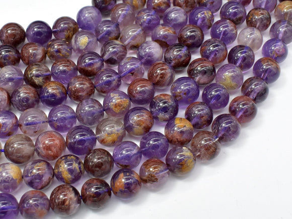 Super Seven Beads, Cacoxenite Amethyst, 10mm Round