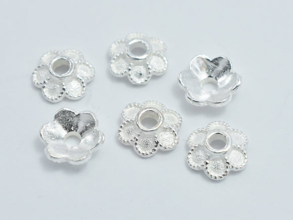 10pcs 925 Sterling Silver Bead Caps, 5.8x2mm Flower Bead Caps
