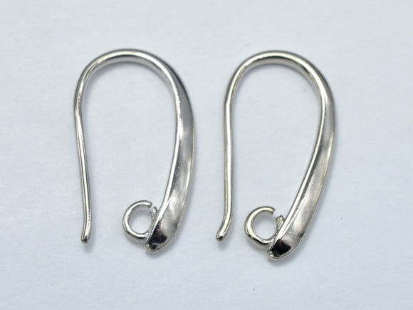 10pcs Earing Hooks, Fishhook, Silver Plated, 10x20mm, Hole 2mm-BeadBeyond