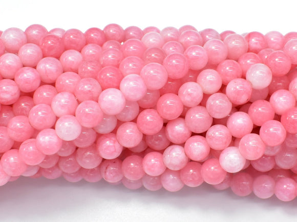 Jade Beads-Pink, 6mm Round Beads-BeadBeyond
