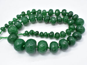 Jade-Green Beads, 5x8-14x20mm Graduated Faceted Rondelle