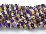 Mixed Quartz- Amethyst, Citrine, 5mm-10mm Pebble Chips Beads