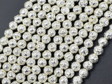 Lava-Silver Plated, 6mm (6.7mm) Round Beads