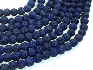 Dark Blue Lava Beads, Round, 8mm (8.5mm)