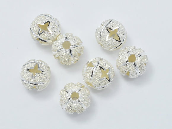 6pcs 925 Sterling Silver Beads, Stardust Silver Beads, 6mm Round