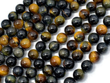 Blue / Yellow Tiger Eye, 8mm (8.3mm) Round Beads-BeadBeyond