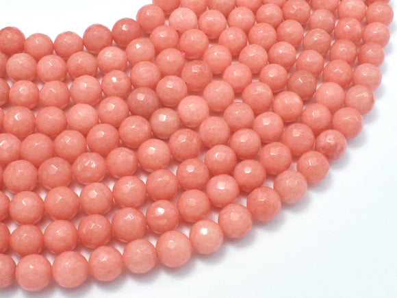Jade Beads, Salmon Pink, 8mm Faceted Round-BeadBeyond