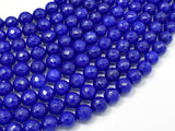 Jade Beads, Blue, 8mm (8.3mm) Faceted Round