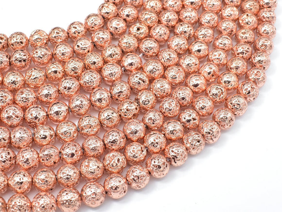 Lava-Copper Plated, 8mm (8.6mm) Round Beads-BeadBeyond