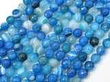 Banded Agate Beads, Striped Agate, Blue, 6mm Faceted Round-BeadBeyond