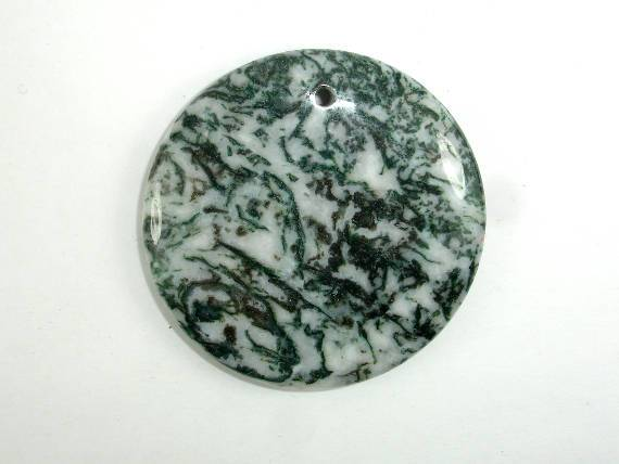 Tree Agate Pendant, Coin Beads, 50mm-BeadBeyond