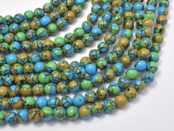 Turquoise Howlite-Blue & Green, 6mm Round Beads-BeadBeyond