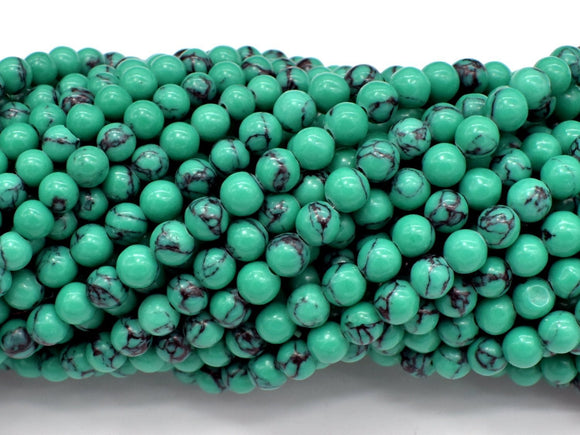 Howlite Turquoise Beads-Green, 4.5mm (5mm) Round Beads