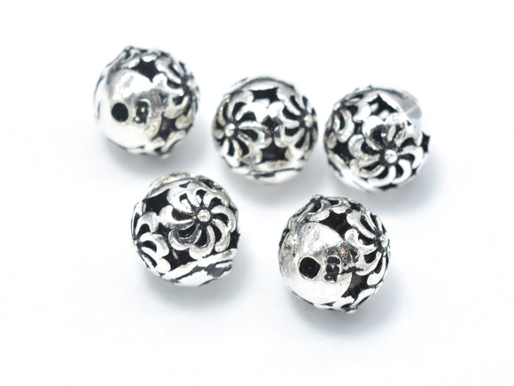 2pcs 925 Sterling Silver Beads-Antique Silver, 8mm Round Beads, Spacer Beads, Hole 1mm-BeadBeyond