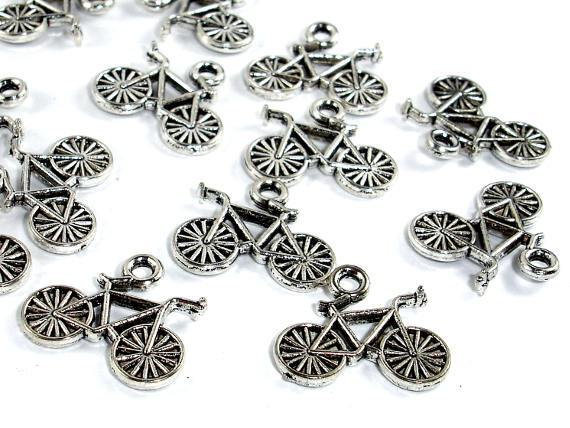 Bike Charms, Zinc Alloy, Antique Silver Tone, 13x15 mm, 10 pcs-BeadBeyond