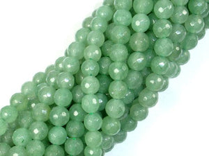 Green Aventurine, 6mm Faceted Round Beads-BeadBeyond