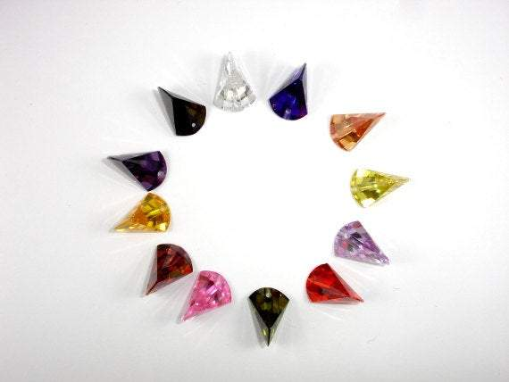 CZ beads, 11x16mm Faceted Axe-BeadBeyond