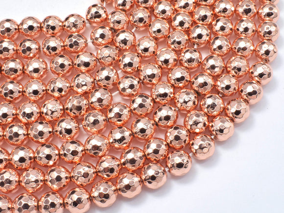 Hematite Beads-Rose Gold, 8mm Faceted Round