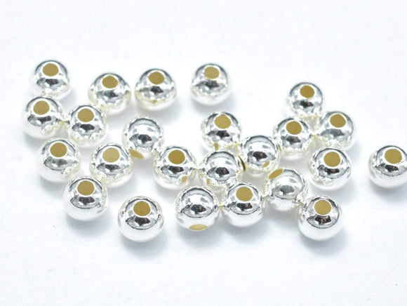30pcs 925 Sterling Silver Beads, 3mm Round Beads