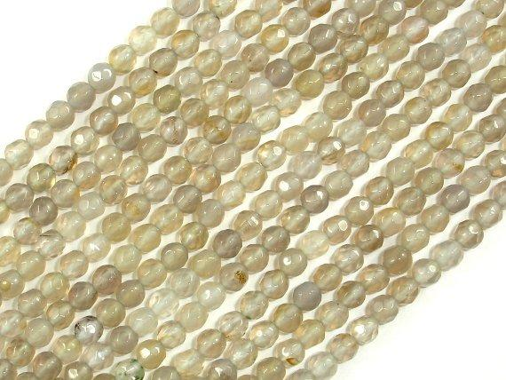 Gray Agate Beads, 4mm Faceted Round