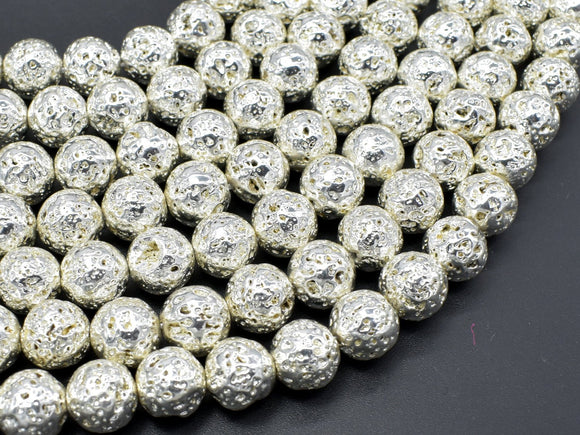 Lava-Silver Plated, 10mm (10.5mm) Round Beads-BeadBeyond