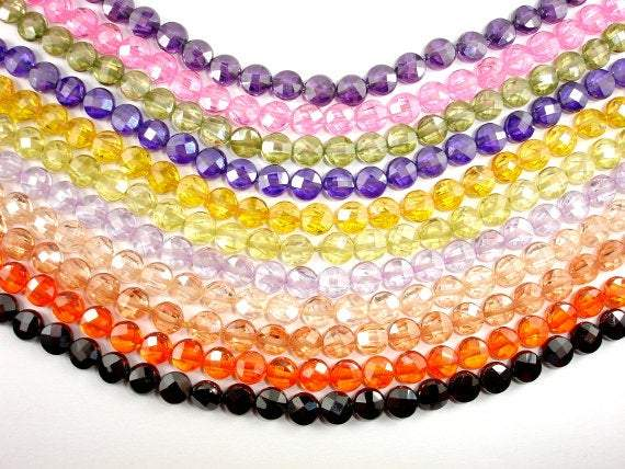 CZ bead, 6 mm Faceted Coin Beads-BeadBeyond