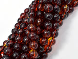 Amber Resin-Red, 8mm Round Beads, 33 Inch, Approx 108 beads